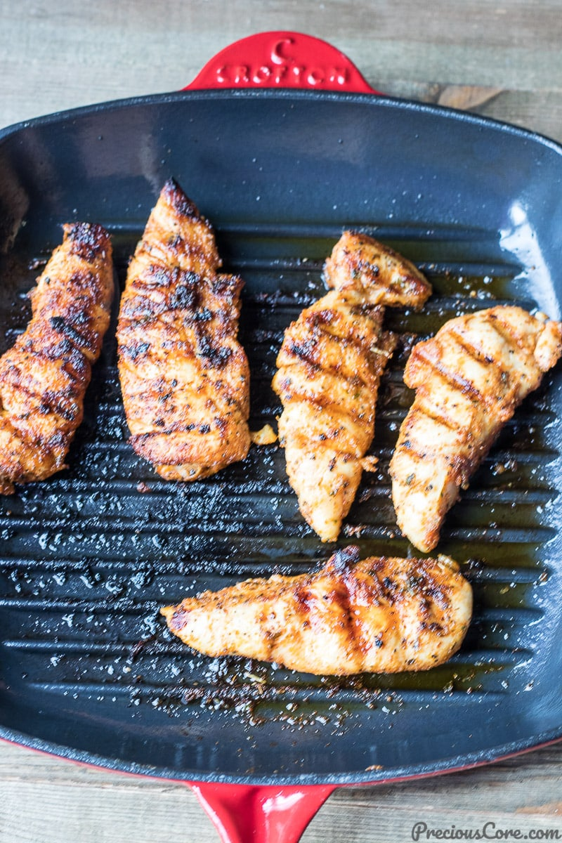 Grilled chicken tenders in grill pan