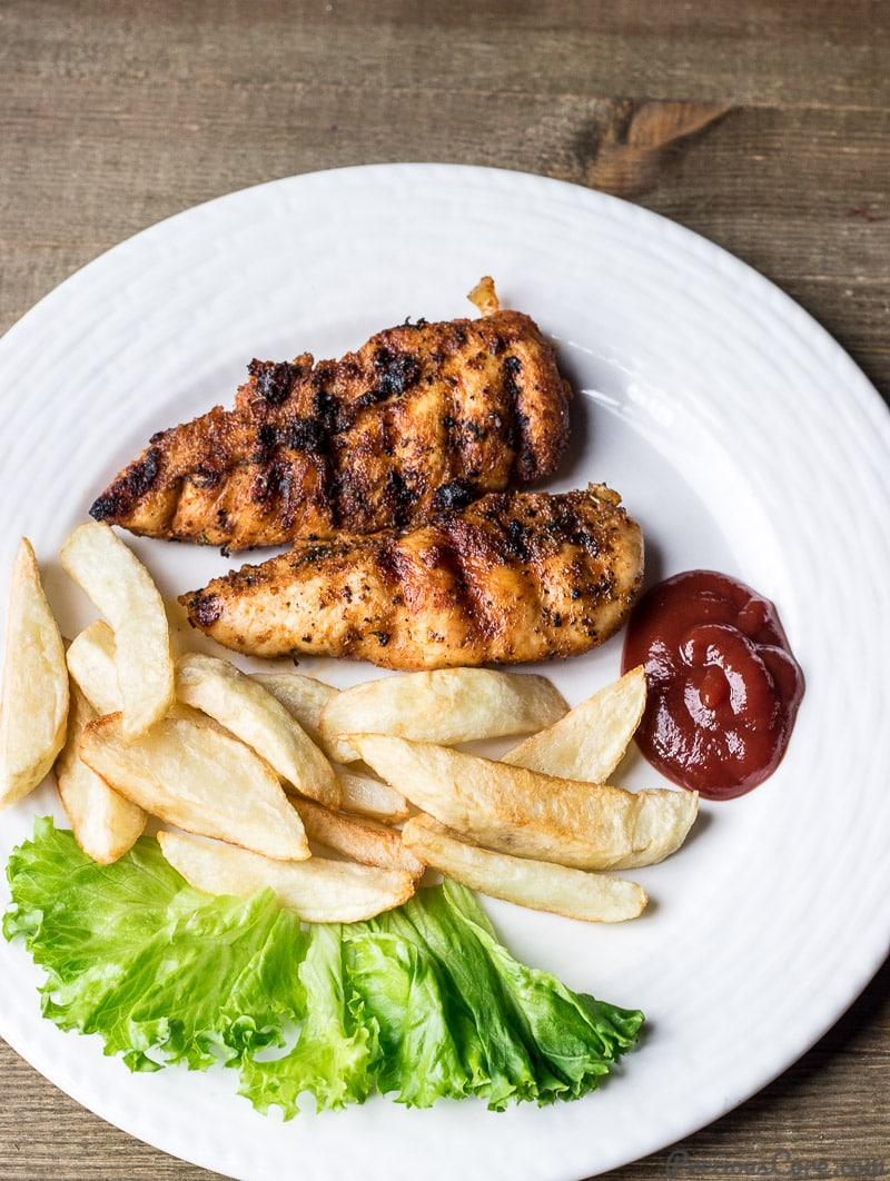Grilled chicken and fries