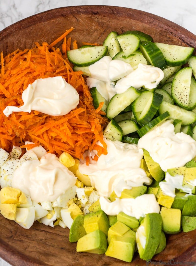 Seasoned veggies for Breakfast Salad.
