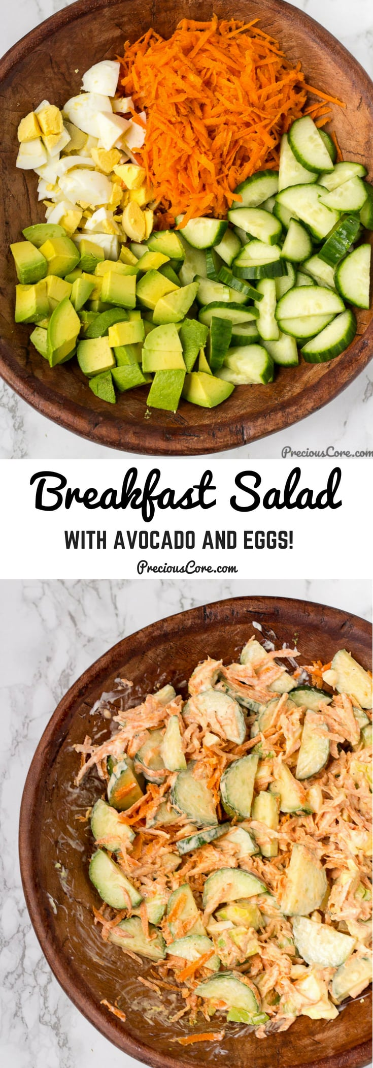 Breakfast salad loaded with avocado, eggs and crunchy veggies. It is fresh, creamy and delicious. The right way to start your day! #Breakfast #Salads #Veggies #Avocado