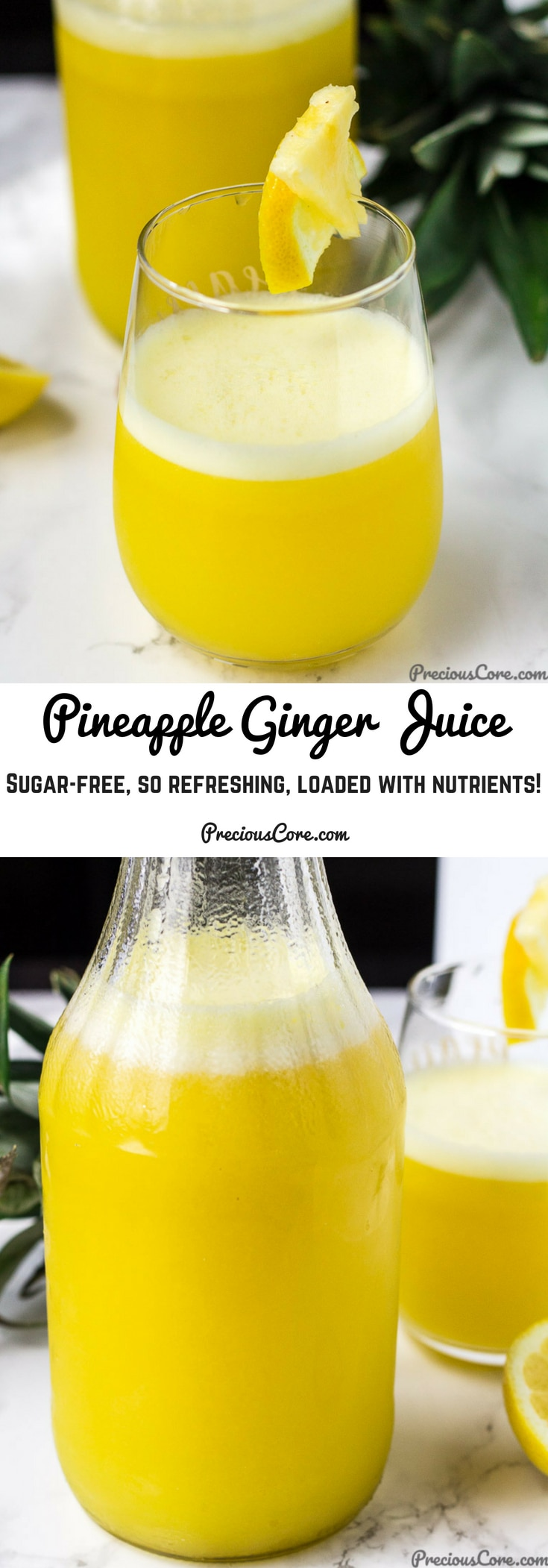 Refreshing Pineapple Ginger Juice! I feel like drinking the whole batch each time I make this,. So fruity, sweet (with no added sugar!), nutrient-dense and perfect for summer! Enjoy, friends! Get the recipe on Precious Core. #Drinks #Juices #Summer