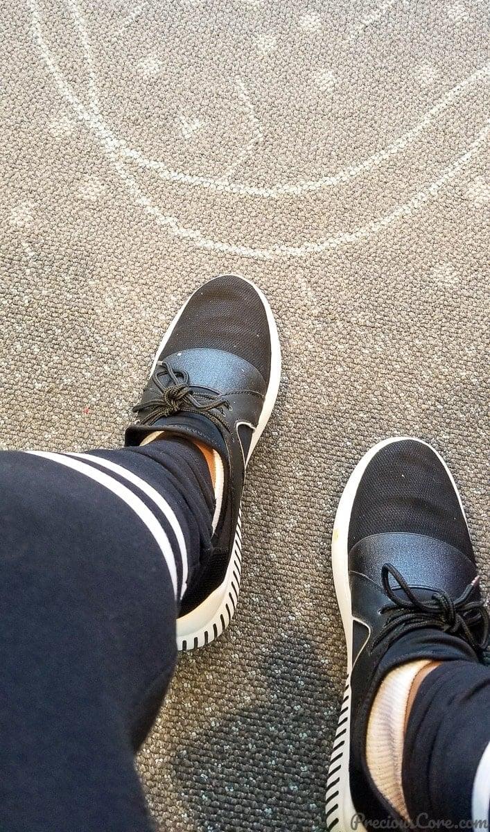 My sneakers waiting to travel at Minneapolis Saint Paul International Airport