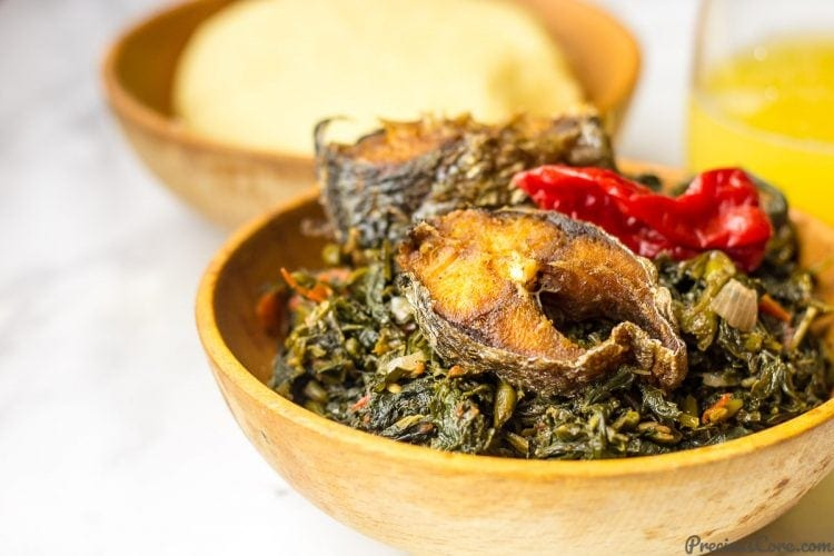 African stir fried vegetables with fufu