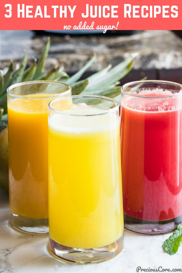 Healthy Juice Recipes - Homemade with no added sugar. All juices are made with no added sugar. #juices #sugarfree #healthy