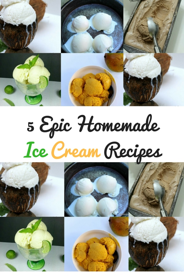5 EPIC homemade ice cream recipes! No ice cream machine needed for these recipes. They are so easy to make! Get all the recipes on Precious Core. #IceCream #SummerRecipes #Homemade