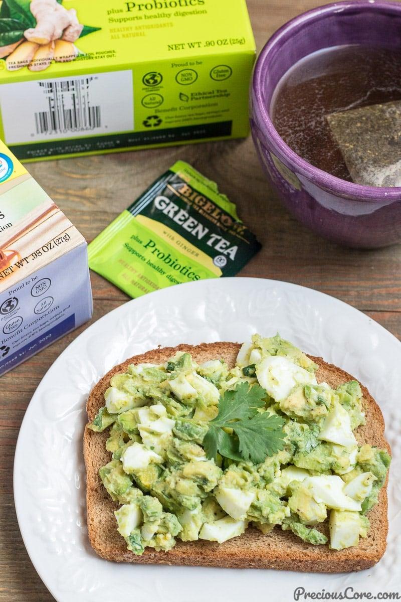 Avocado Egg Salad breakfast and tea