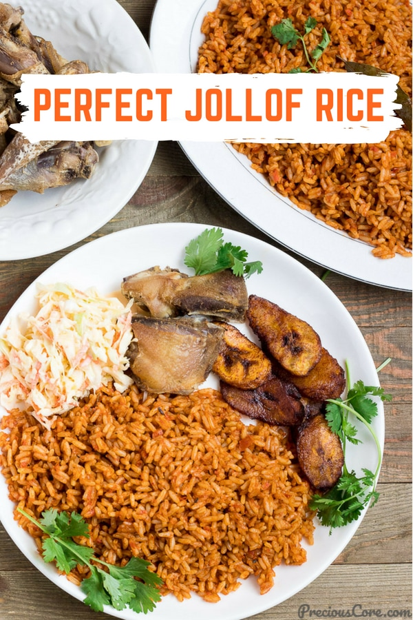 The perfect Jollof Rice! This one pot rice and chicken meal is one dinner recipe you will want to make over and over again! Simple ingredients, great results. Get the recipe on Precious Core. #Dinner #RiceRecipes #ChickenandRice