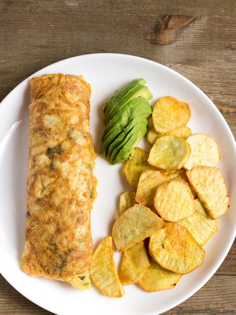 African omelette and fried sweet potatoes