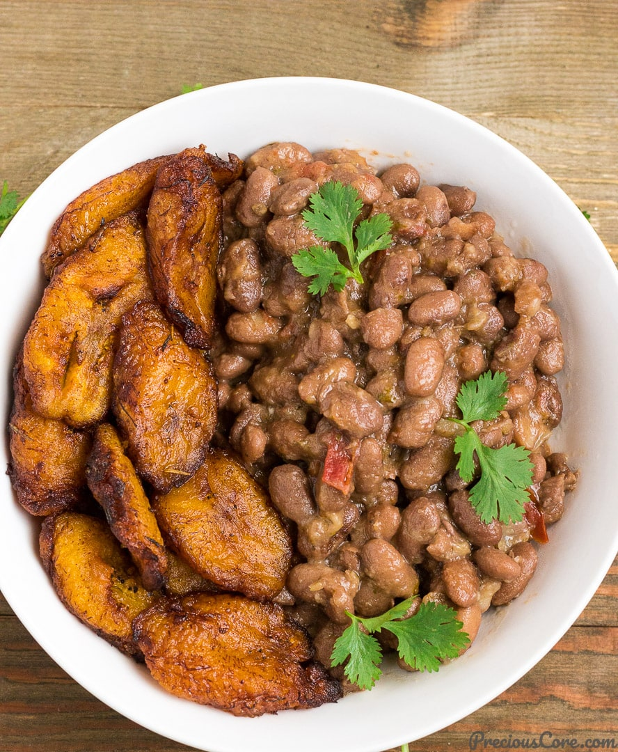 Stewed pinto beans and sweet fried plantains