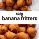 Banana fritters on serving platter