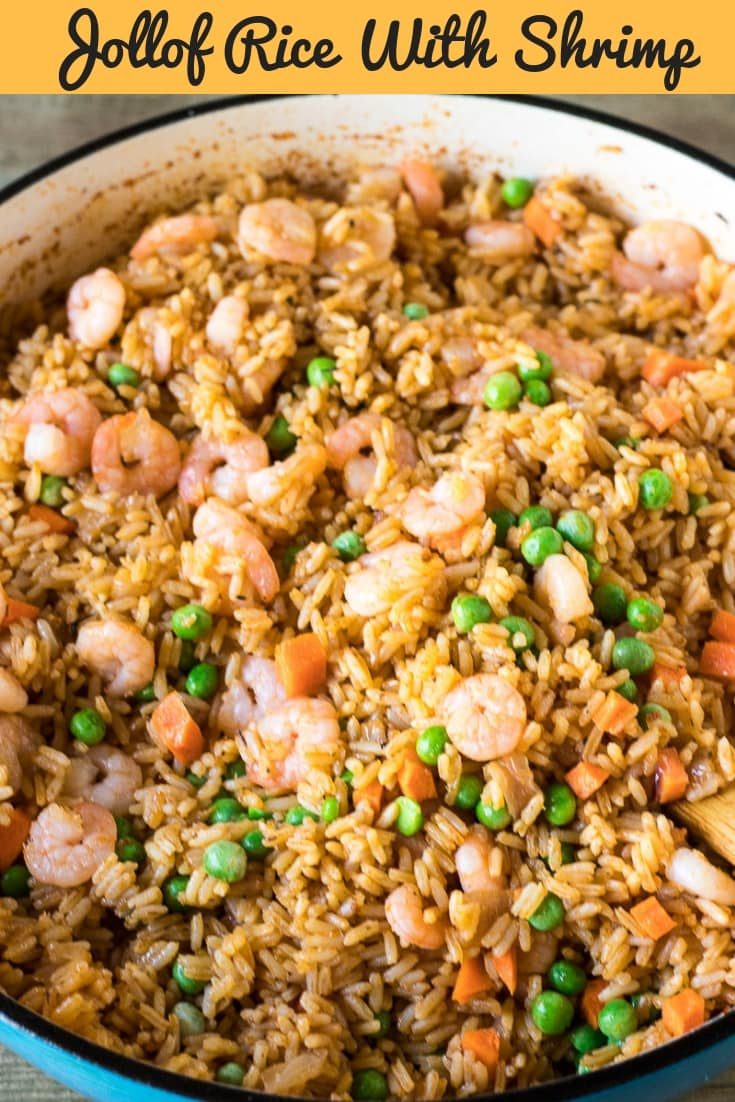 West African famous meal Jollof Rice made with Shrimp is comfort food at its best! Flavorful shrimp with aromatic rice adorned with vibrant fresh veggies. This Jollof Rice with Shrimp all happens in one pot, it is made with pantry staples and requires very little prep time! #JollofRice #OnePot #Dinner #PreciousCore