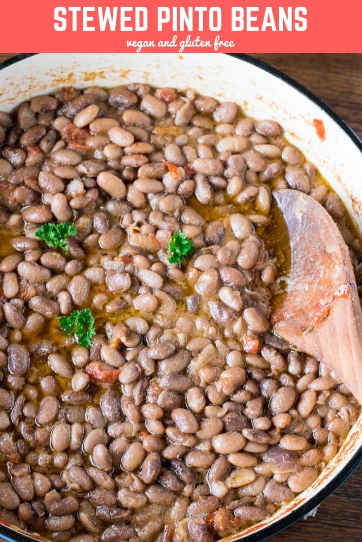 This hearty stewed pinto beans is so tasty, garlicky with a delicious tomato base. Enjoy on boiled rice, with plantains or any side you like. So good! #vegan #glutenfree #beans #dinner #preciouscore
