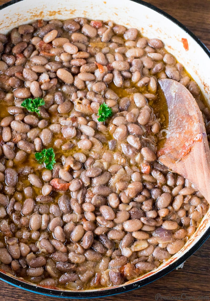 Pot of stewed pinto beans