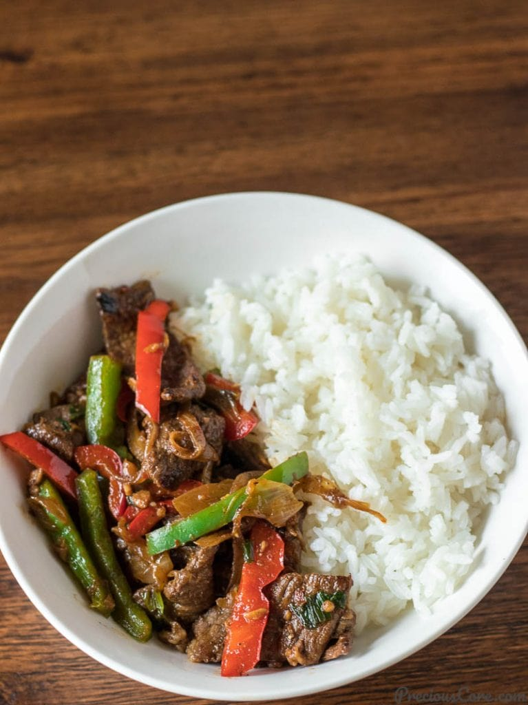 Easy beef stir fry and rice