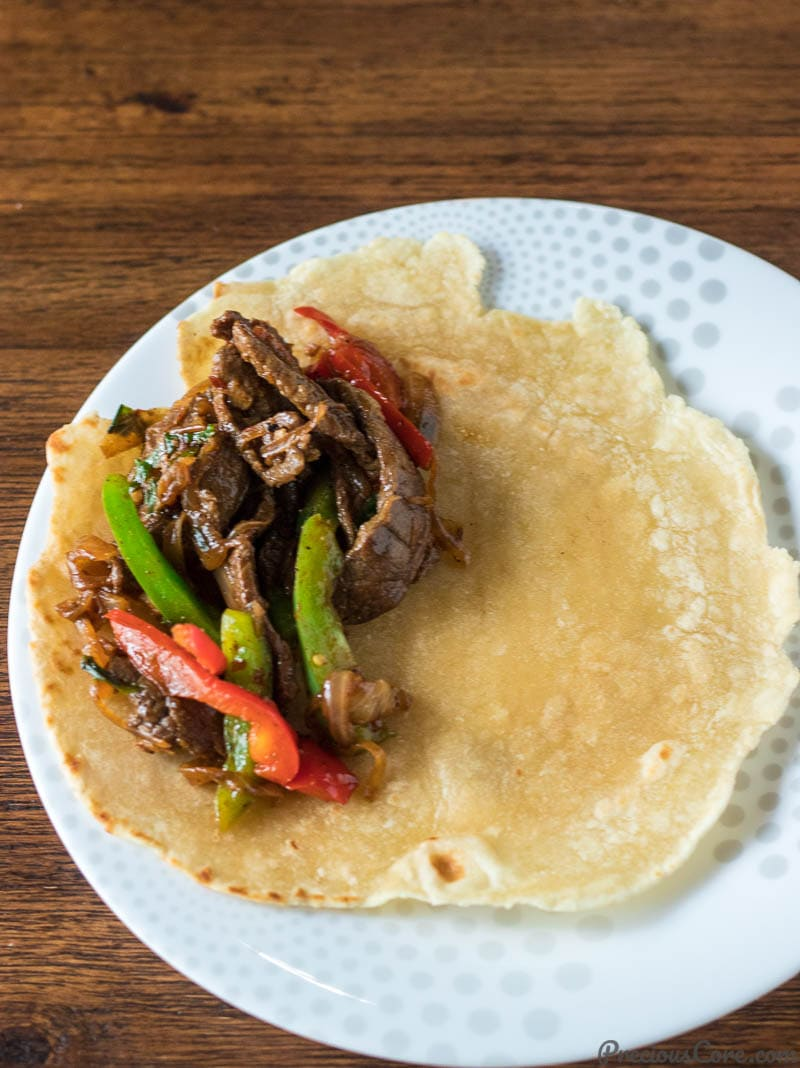 Beef Stir Fry on Flat bread