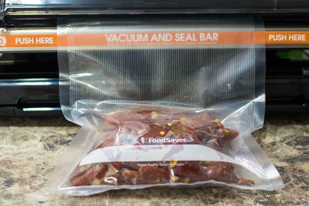 Vacuum sealing beef