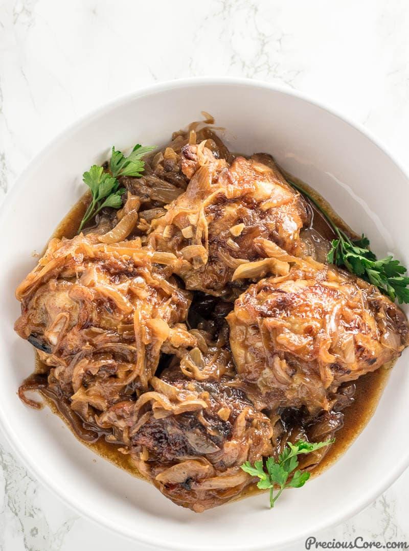 Senegalese Poulet Yassa in a bowl