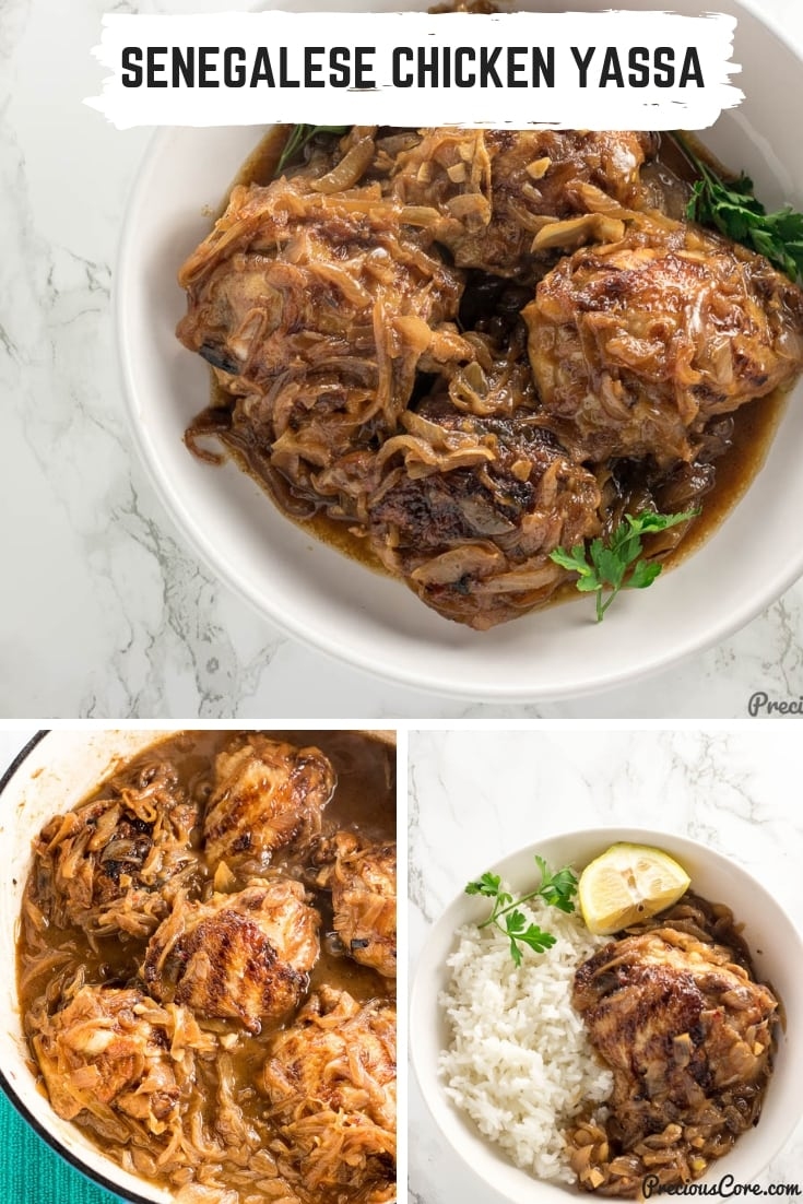 Senegalese Chicken Yassa is grilled chicken cooked in caramelized onions. The result is tender chicken in sweet onions that is to die for. Once you try this, you will want to make it a regular weeknight dinner. So easy to make and so tasty! Get the recipe on Precious Core. #Dinner #ChickenRecipes #PouletYassa #ChickenYassa #Chicken #PreciousCore
