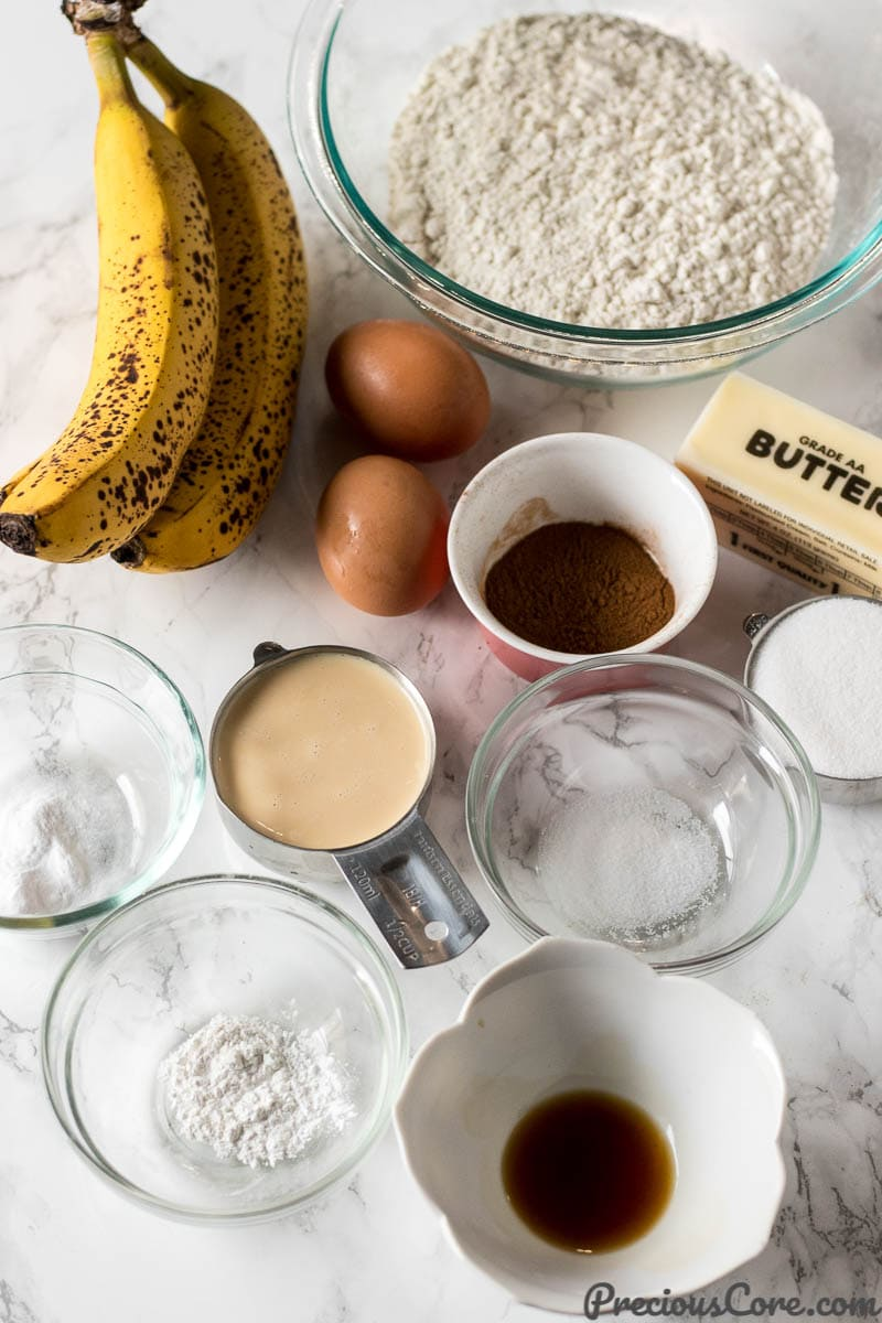 Banana Bread Ingredients - the most delicious Banana Bread