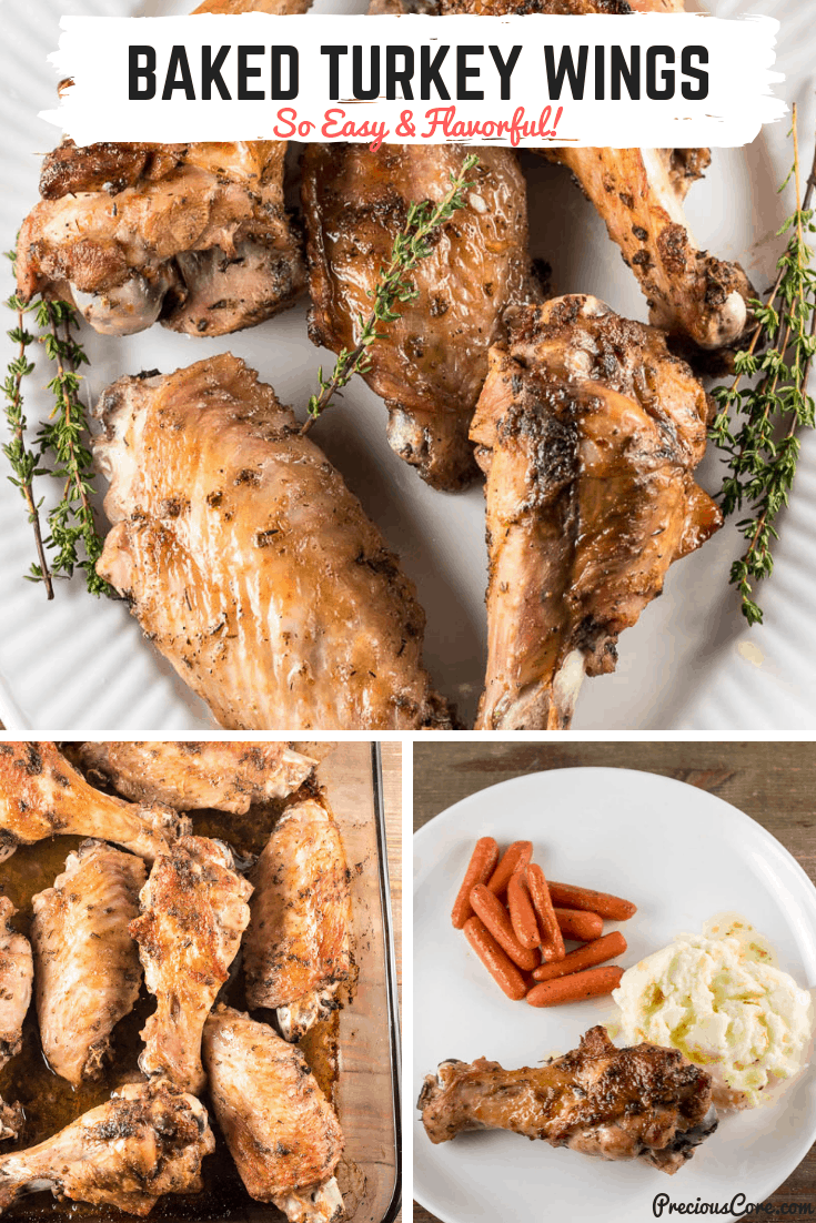 These Baked Turkey Wings are so full of flavor, easy to put together and a whole less complicated than roasting a whole turkey! #ThanksgivingTurkey #TurkeyRecipes #Dinner #PreciousCore