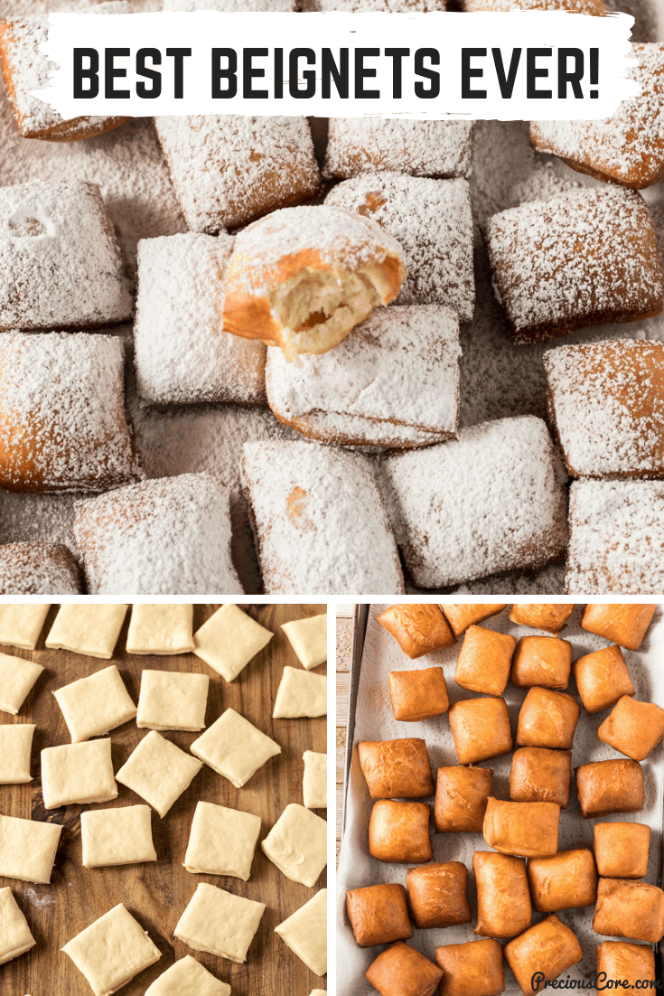 Soft, pillowy on the inside beignets, that are not too sweet so the powdered sugar on top does its job. These beignets are light and airy like beignets should be. The perfect Beignets Recipe which you will want to make over and over again! #Beignets #Donuts #Sweets #PreciousCore