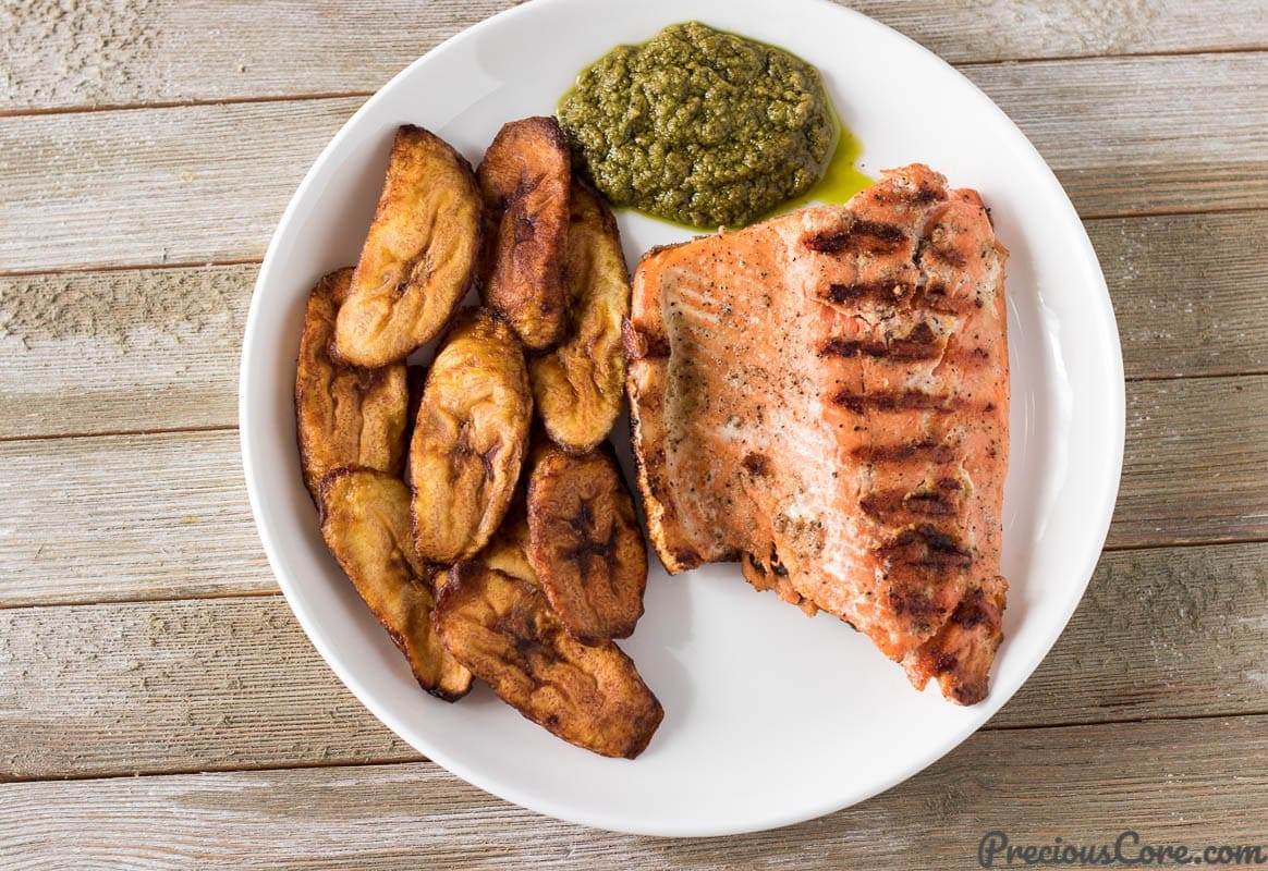 Salmon African style and fried plantains