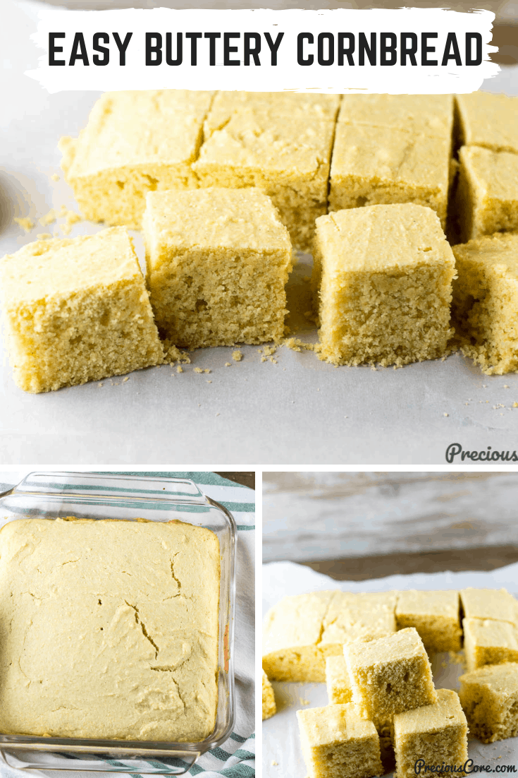 This Easy Cornbread Recipe is the one and only cornbread recipe you will ever need! The cornbread is moist, buttery, crispy around the edges and just a delight to enjoy. #cornbread #thanksgiving #easycornbread #southernrecipes #PreciousCore