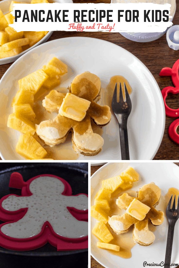Fluffy, tasty pancakes for kids! My kids can never have enough of these for breakfast. Also, see how we make the fun pancake shapes! #Ad #Pancakes #PancakeRecipeforKids #Breakfast #Brunch #PreciousCore