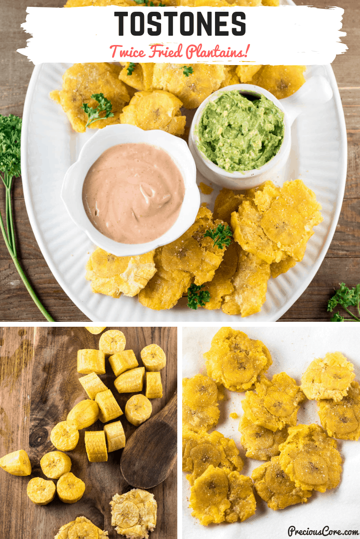 Crispy twice-fried plantains that will make you forget your favorite chips. This tostones recipe is hard to beat! Enjoy as a snack, appetizer or side dish. #tostones #friedplantains #sidedish #appetizer #PreciousCore