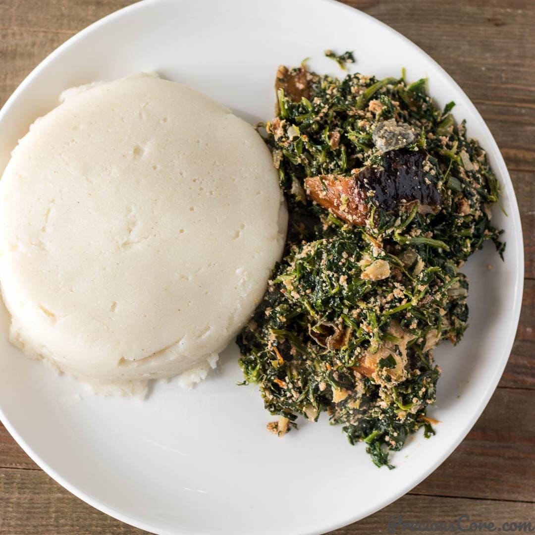 Fufu and vegetable