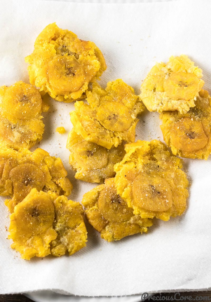 tostones - twice fried plantains