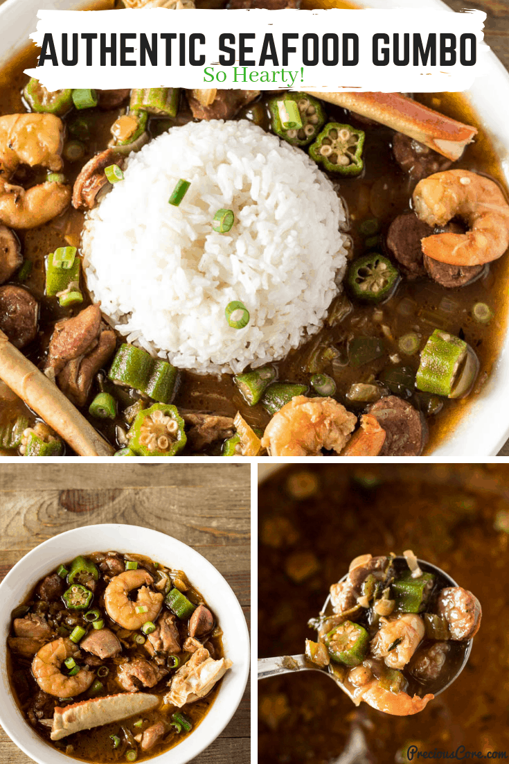 There is nothing like the smell of this Seafood Gumbo slowly simmering away on a Sunday Afternoon. I make this when I want to make something special for my family. Get the recipe on Precious Core. #dinner #seafoodgumbo #gumbo #seafood #preciouscore