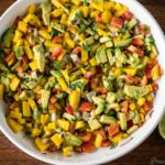 Mango Avocado Salsa in a white bowl