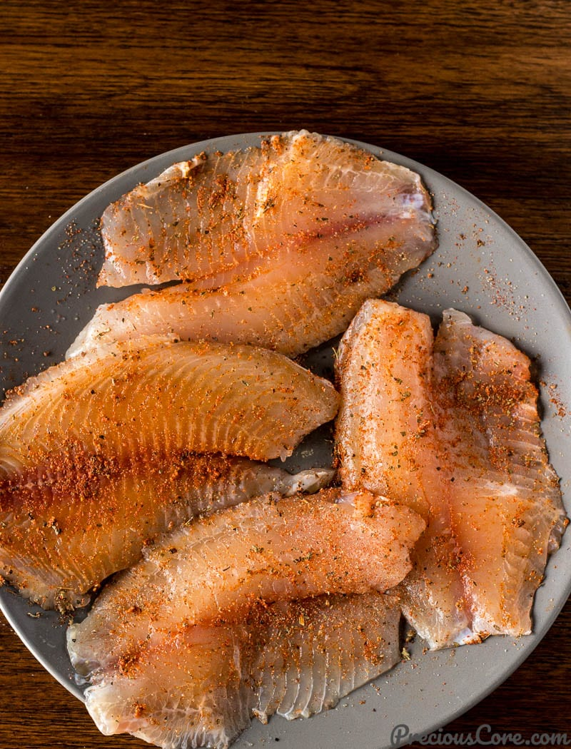 Fillets with seasoning rubbed on