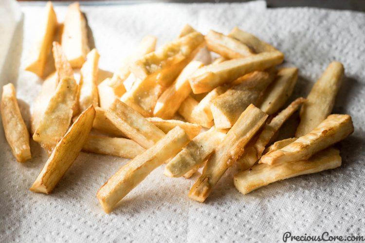 Yuca Fries on Paper Towel