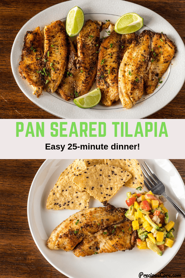 Collage of two photos of pan seared tilapia