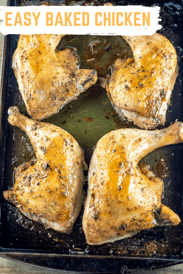Baked Chicken Leg Quarters on baking tray