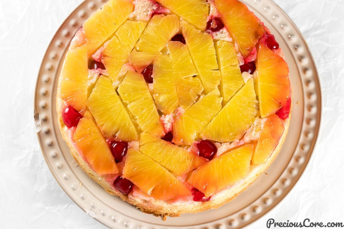 Upside Down Cake on a plate