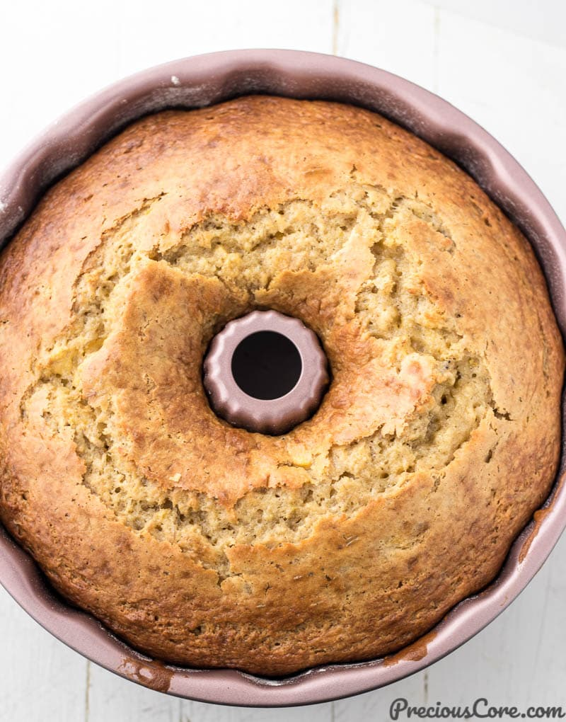 Cake in bundt pan with cracked top