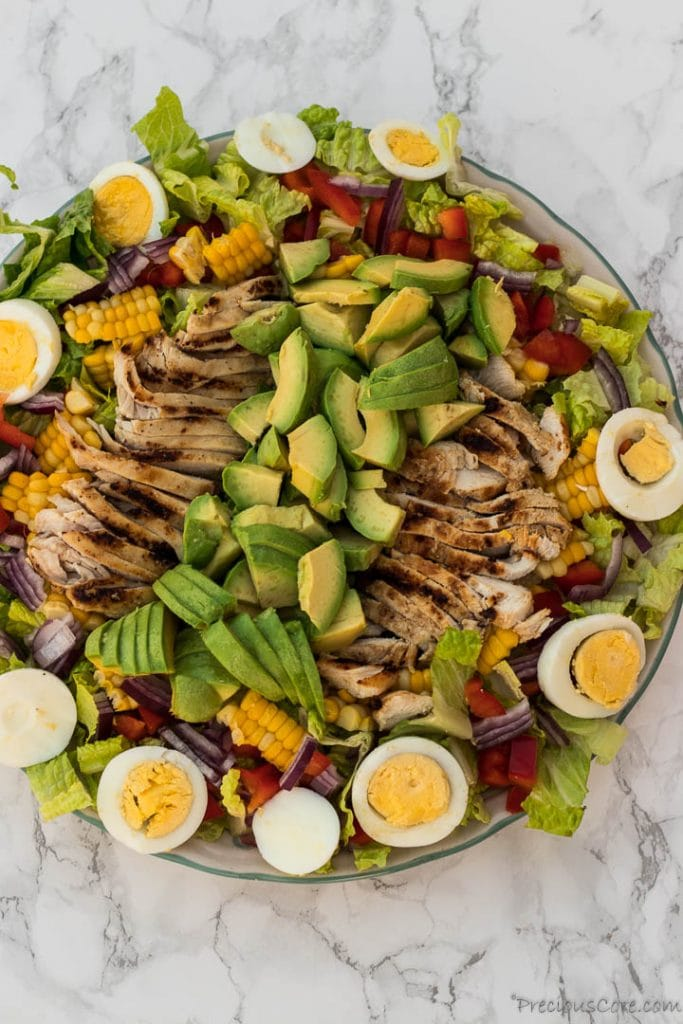 avocado chicken salad on platter