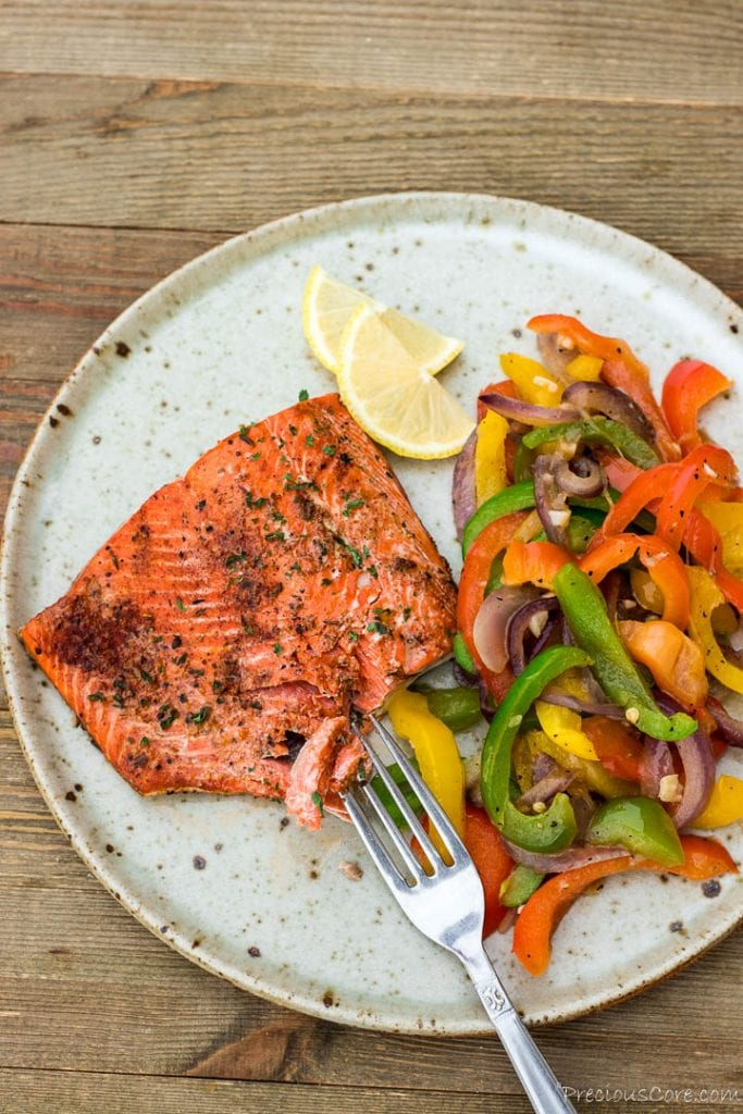 Sautted Peppers and salmon on plate