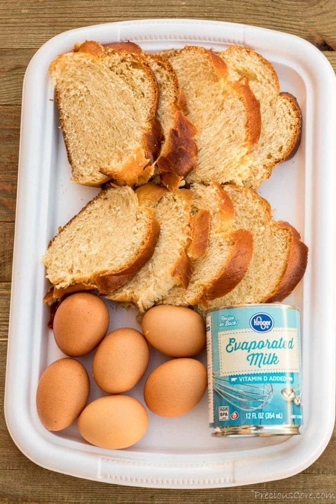 Picture of bread, eggs and milk