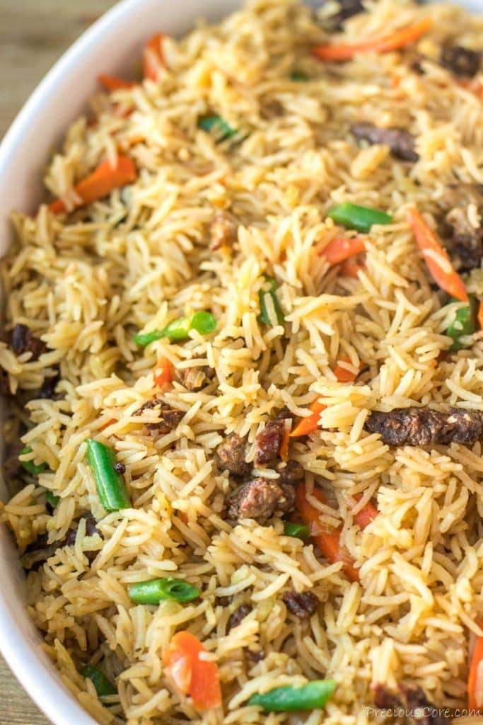 Close up shot of Beef Fried Rice