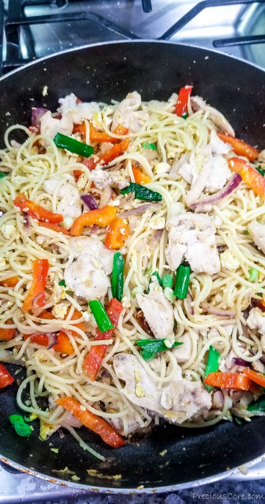 spaghetti stir fry in a pan