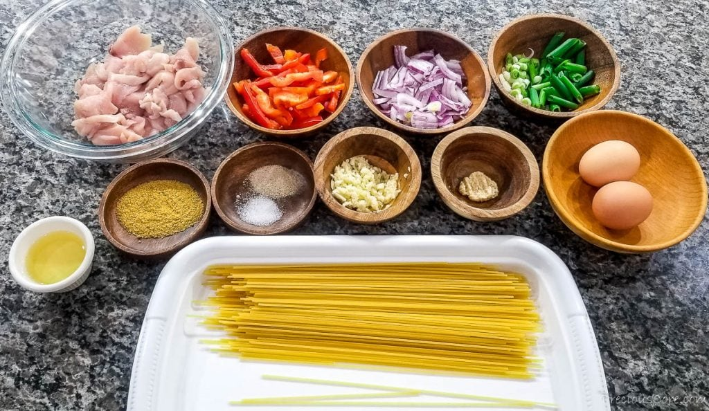 ingredients for spaghetti stir fry with chicken