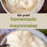 Homemade mayonnaise in a bowl, homemade mayonnaise on a spoon