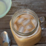 Iced coffee in a mason jar with handle