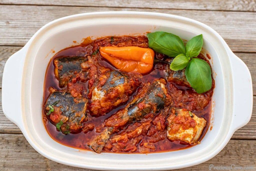 Fresh fish stew in a serving bowl