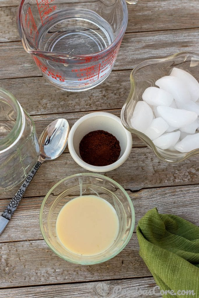 Condensed milk, instant coffee, ice and water