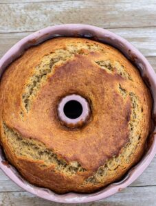 Freshly bakes Banana Bundt Cake in a Bundt Pan